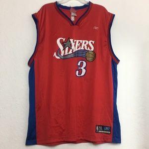 Men Reebok Vintage Allen Iverson 76ers Jersey 2XL